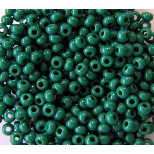 53240 Бисер непрозрачный, насыщенно-зеленый, натуральный
