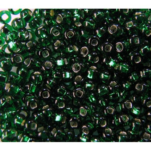 57060 Бисер прозрачный, зелёный, серебряная серединка