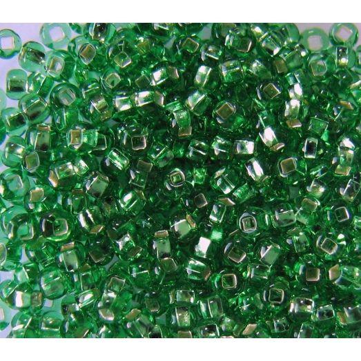57100 Бисер прозрачный зеленый с серебряной серединкой