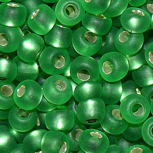 57100м Бисер Preciosa стеклянный светло-зелёный матовый с серебрянным прокрасом