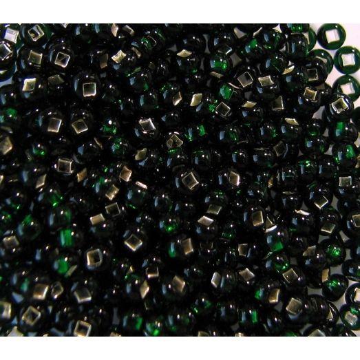 57150 Бисер прозрачный, тёмный зелёный, серебряная серединка