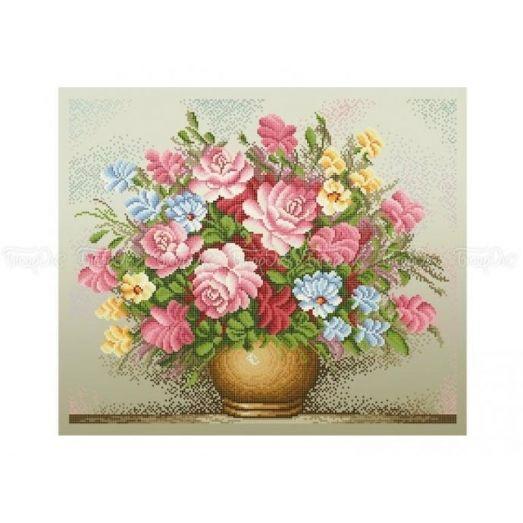 30-213 (40*60) Розовый букет. Схема для вышивки бисером Бисерок