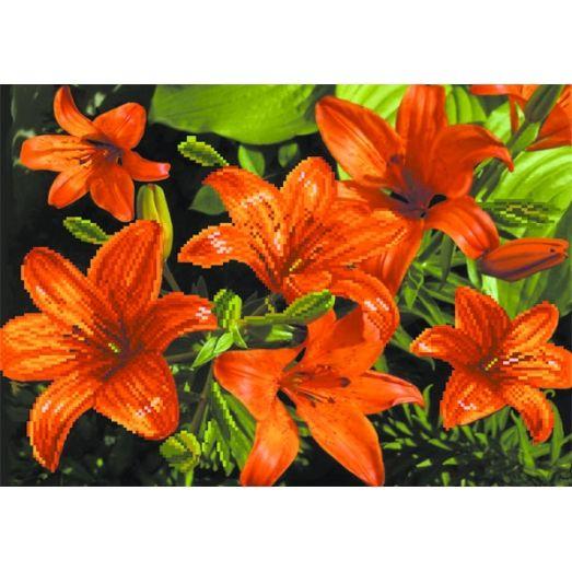 4085 Схема для вышивки Оранжевые лилии. Матренин посад