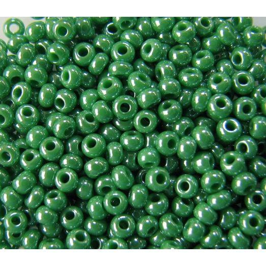 58250 Бисер непрозрачный, зелёный, перламутровый