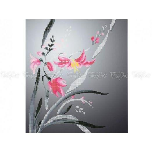 30-203 (40*60)  Розовые лилии. Схема для вышивки бисером Бисерок