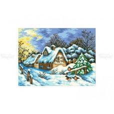 10-330 (30*40) Зимний домик. Схема для вышивки бисером Бисерок