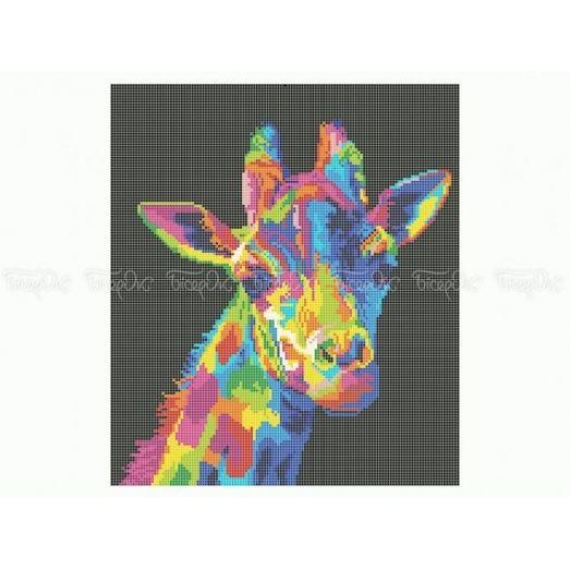 50-341 (30*40) Радужный жираф. Схема для вышивки бисером Бисерок