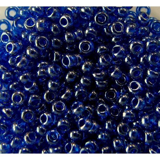 66300 Бисер прозрачный, темно-синий,  глазурированный