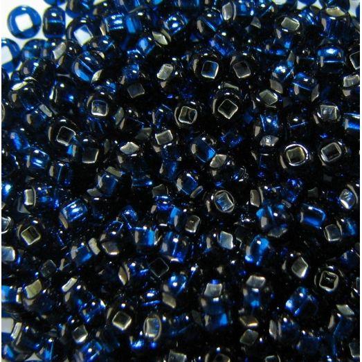 67100 Бисер прозрачный, тёмный голубой, серебряная серединка
