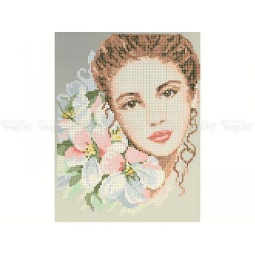 40-415 (20*25) Девушка с цветами. Схема для вышивки бисером Бисерок