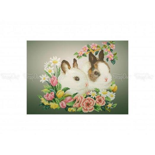 50-313 (30*40) Кролики. Схема для вышивки бисером Бисерок