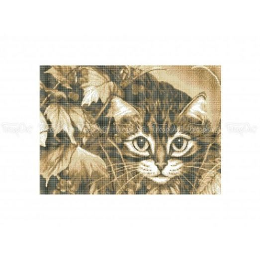 50-322 (30*40) Котенок в осенней листве. Бисерок