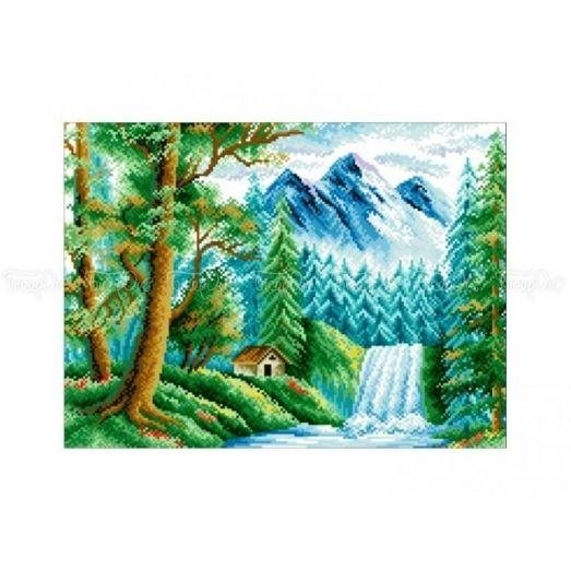 10-351 (30*40) У водопада. Схема для вышивки бисером Бисерок