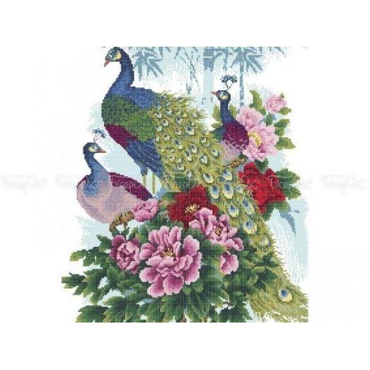 70-201 (40*60) Павлины в цветах. Схема для вышивки бисером Бисерок