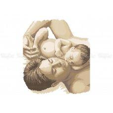 40-328 (30*40) Отец с ребенком. Схема для вышивки бисером Бисерок
