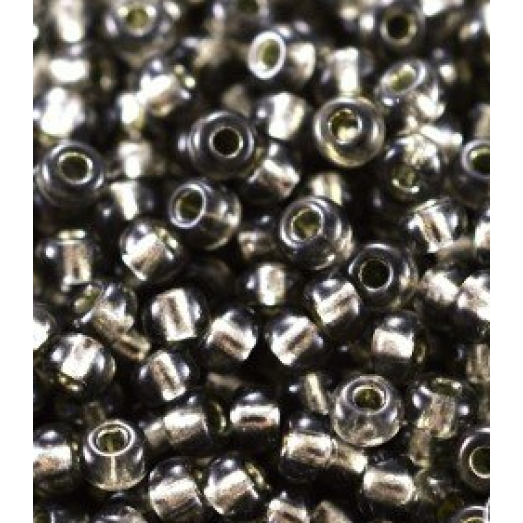 78641 Бисер Preciosa серый, серебряная линия внутри