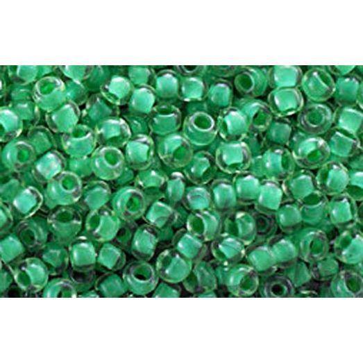 80658 Бисер Preciosa прозрачный с внутренним зелёным прокрасом