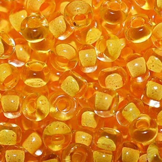 80883 Бисер Preciosa стеклянный прозрачный с насыщенным оранжево-жёлтым прокрасом