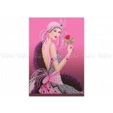 40-301 (30*40) Девушка с розой. Схема для вышивки бисером Бисерок