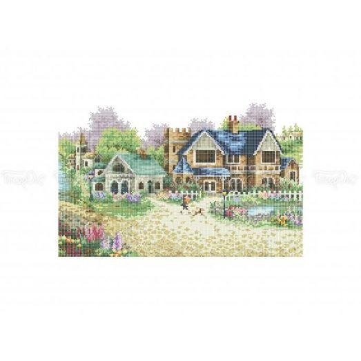 10-384 (30*40) Тихий дворик. Схема для вышивки бисером Бисерок