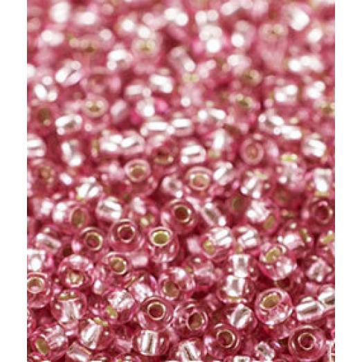 78692 Бисер Preciosa розовый, серебряная линия внутри