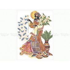 40-209 (40*60) Африканка с бабочками. Схема для вышивки бисером Бисерок