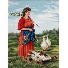 B486 Девочка с гусями-Маковский. Набор для вышивки нитками. Luca-s