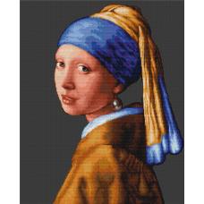 B467 Девушка с жемчужиной. Набор для вышивки нитками. Luca-s