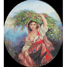 B466 Итальянка с цветами. Набор для вышивки нитками. Luca-s