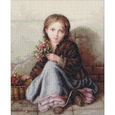 B513 Девочка с цветами. Набор для вышивки нитками. Luca-s