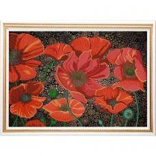 НИК-9486 Красные маки. Схема для вышивки бисером  ТМ Конек