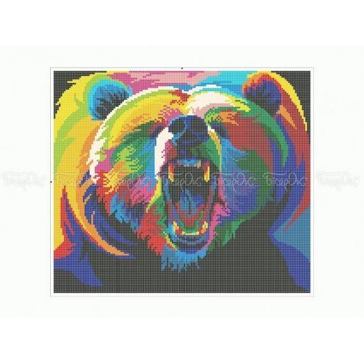 50-348 (30*40) Радужный медведь. Схема для вышивки бисером Бисерок