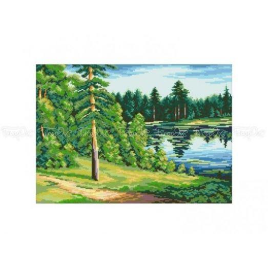 10-343 (30*40) Озеро в лесу. Схема для вышивки бисером Бисерок