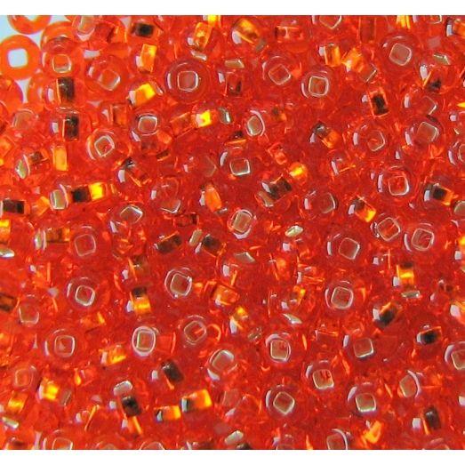 97030 Бисер оранжевый, серебряная серединка