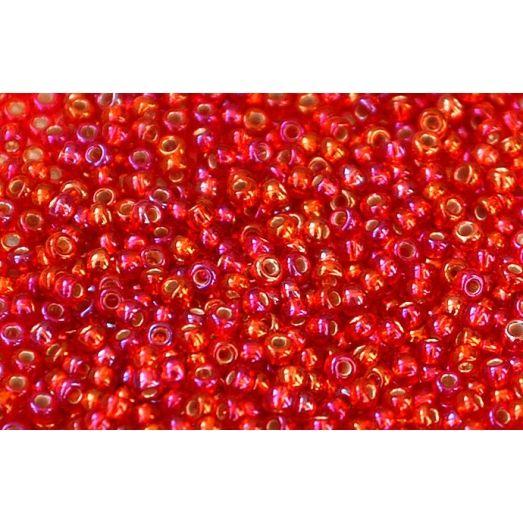 97059 Бисер Preciosa стеклянный красно-оранжевый радужный с серебрянным прокрасом