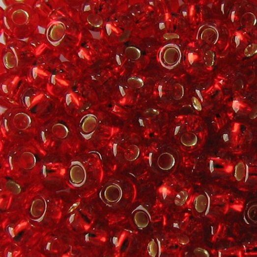 97070 / №496 Красный прозрачный с серебряной серединкой