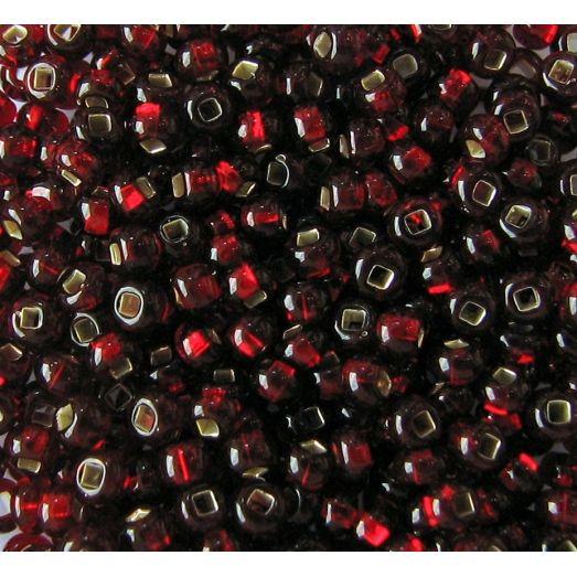 97120 Бисер темно-красный с серебряной серединкой