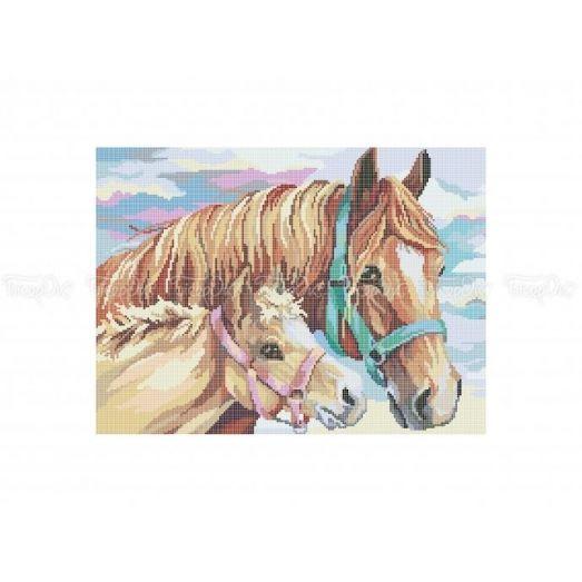 50-302 (30*40) Лошадь с жеребенком. Схема для вышивки бисером Бисерок