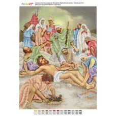 БСР-Стояние-11 (А3) Иисуса пригвождают к кресту. Схема для вышивки бисером ТМ Сяйво