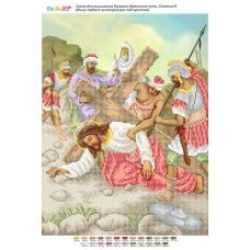 БСР-Стояние-07 (А3) Иисус падает во второй раз под крестом. Схема для вышивки бисером ТМ Сяйво
