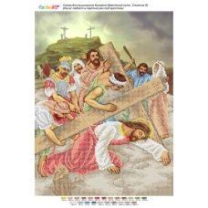БСР-Стояние-09 (А3) Иисус падает в третий раз под крестом. Схема для вышивки бисером ТМ Сяйво