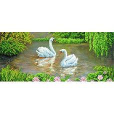 A-041 (17х39) Лебеди в пруду. Схема для вышивки бисером СвитАрт