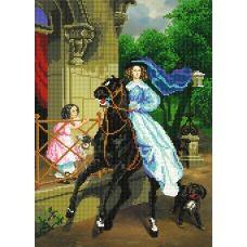 A-074 (А3) Девушка на лошади. Схема для вышивки бисером СвитАрт