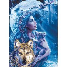 A-075 (А3) Девушка и волк. Схема для вышивки бисером СвитАрт