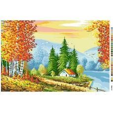 А2-16-008 Осенний лес. Канва для вышивки нитками Вышиванка