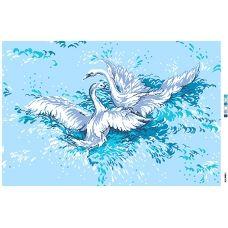 А2-16-011 Лебеди. Канва для вышивки нитками Вышиванка