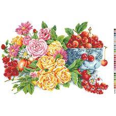 А2-16-012 Цветы и вишни. Канва для вышивки нитками Вышиванка