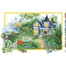 А2-16-015 Дом у моря. Канва для вышивки нитками Вышиванка