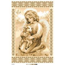 А2-16-018 Ангел с овечкой. Канва для вышивки нитками Вышиванка