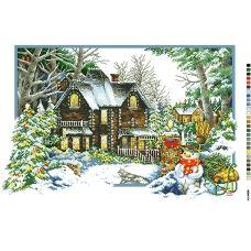 А2-16-020 Дом в зимнем лесу. Канва для вышивки нитками Вышиванка